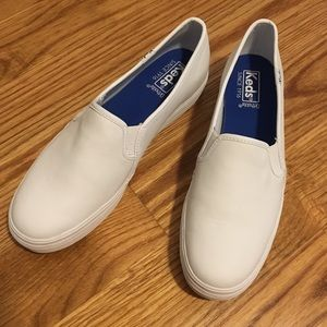 Keds Triple Decker Leather White Slip-Ons